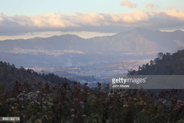Mountains and clouds surround Guatemala's second largest city on February 11 2017 in Quetzaltenango Guatemala