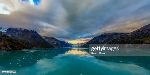 Mountains and glacier bay, Glacier Bay National Park and Preserve, Alaska, USA