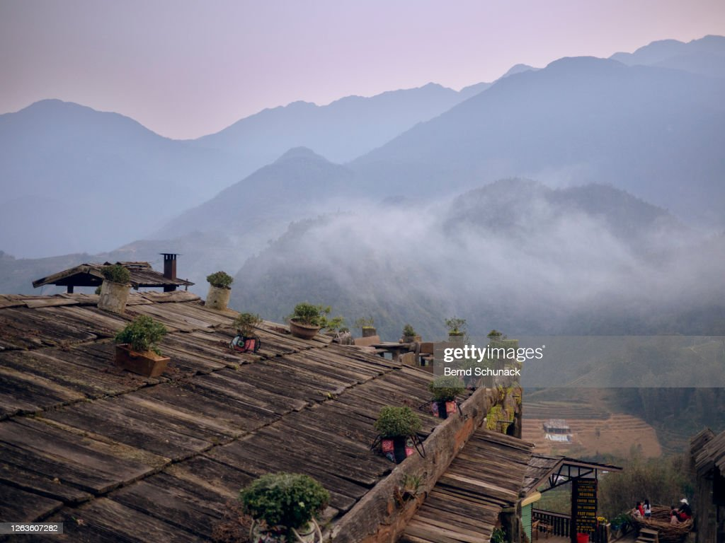 Mountains and rice terraces at Cat Cat Village, Sapa : Stock-Foto