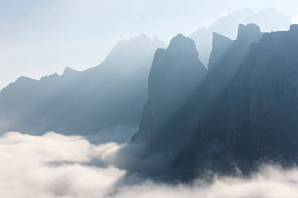 Mountains and sunrays, Dolomites, Italy