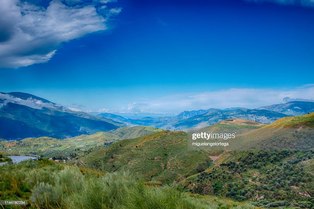Mountains and valleys in the spanish region of Las Alpujarras : Foto de stock