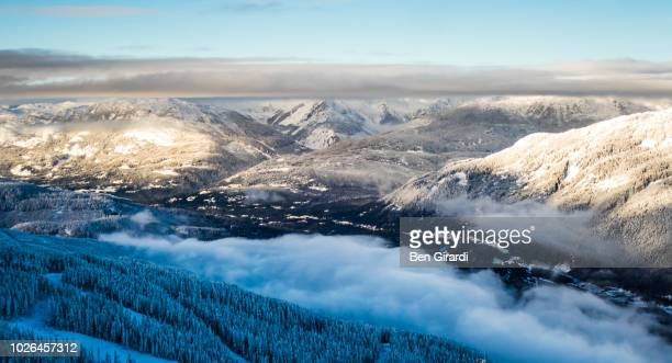 mountains and valleys in winter, whistler, british columbia, canada - whistler british columbia stock pictures, royalty-free photos & images