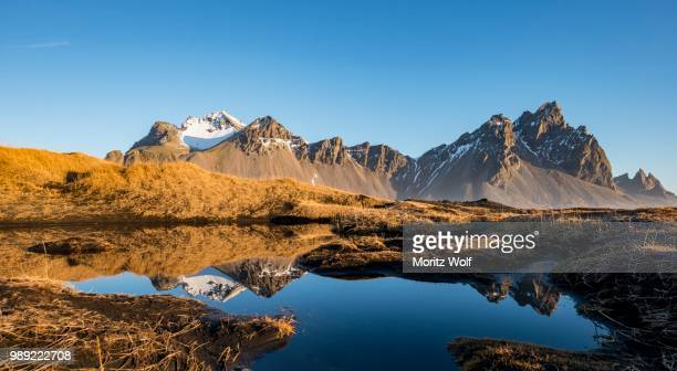 Mountains are reflected in a small lake, overgrown dunes, mountains Klifatindur, Eystrahorn and Kambhorn, headland Stokksnes, mountain range Klifatindur, Austurland, East Iceland, Iceland