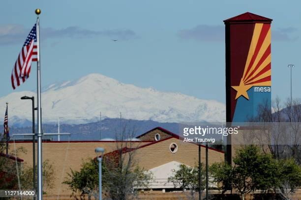 Mountains are seen during a Spring Training game between the Milwaukee Brewers and the Chicago Cubs on Saturday February 23 2019 at Sloan Park in...