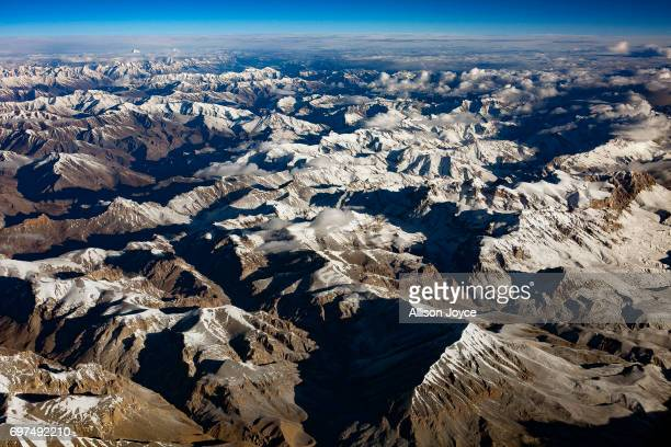 Mountains are seen from an airplane on June 10 2017 in Ladakh India The cold desert of Ladakh has been known as the roof of the world and reportedly...