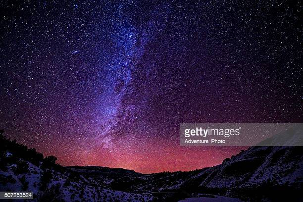 mountains at night with milky way galaxy - star space stock pictures, royalty-free photos & images