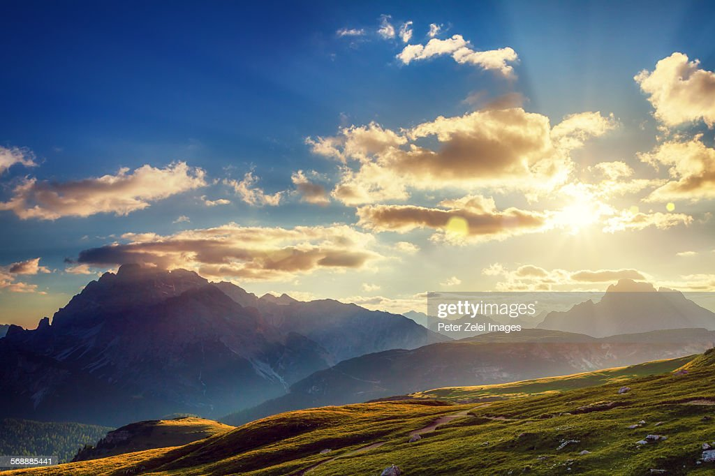 Mountains at sunset : Stock Photo