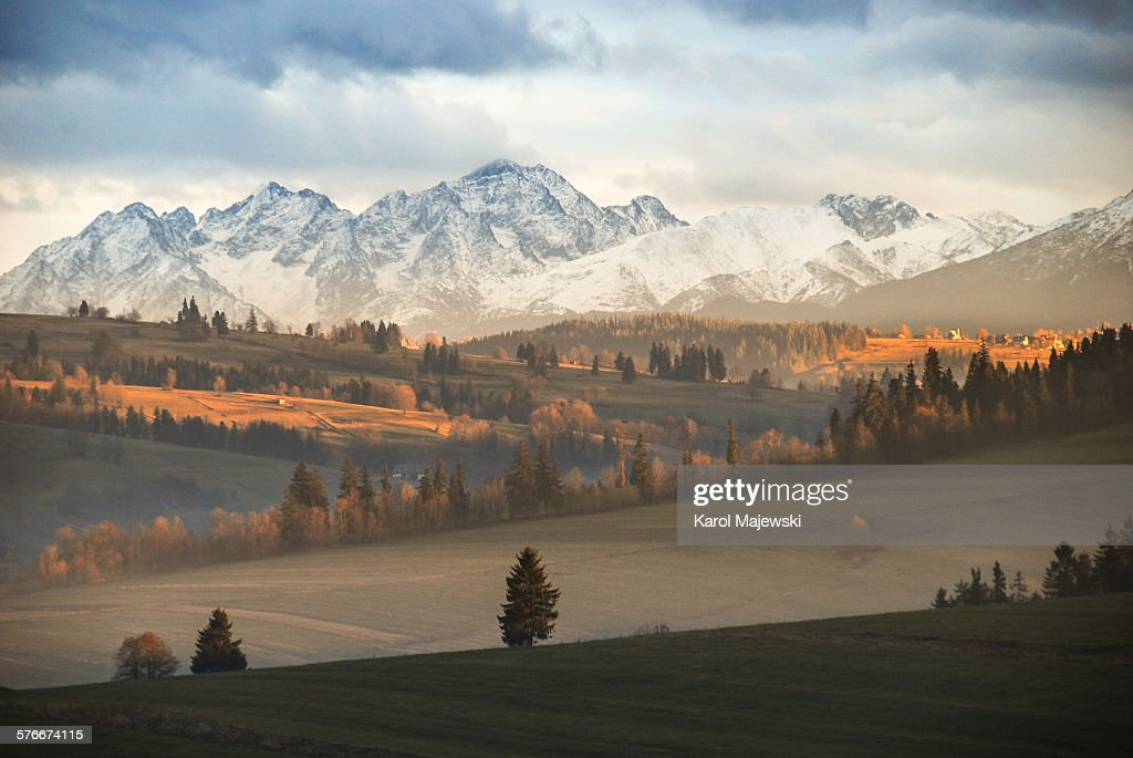 Mountains at sunset : Stock Photo