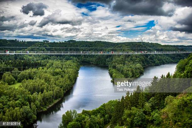 mountains covered in green and the rappbode river - rappbodetalsperre, elbingerode harz, saxony anhalt, germany - saxony anhalt stock pictures, royalty-free photos & images