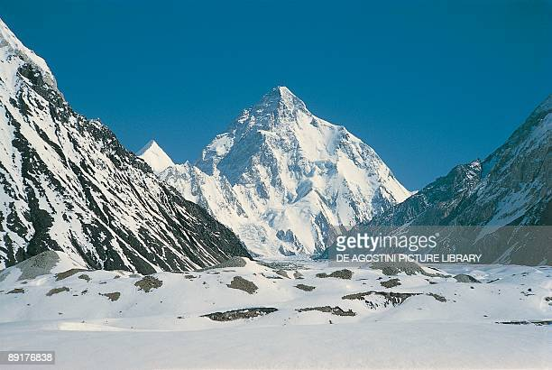 Mountains covered with snow K2 Karakoram Range Kashmir Pakistan