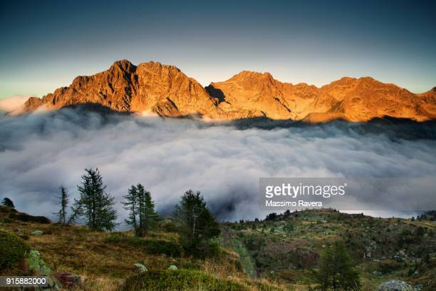 Mountains floating on a sea of clouds