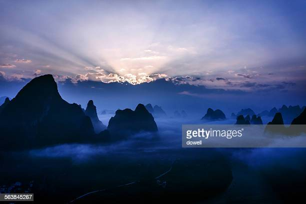 Mountains in guilin at sunset