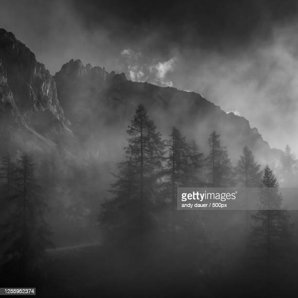 mountains in mist, schladming, austria - andy dauer stock pictures, royalty-free photos & images