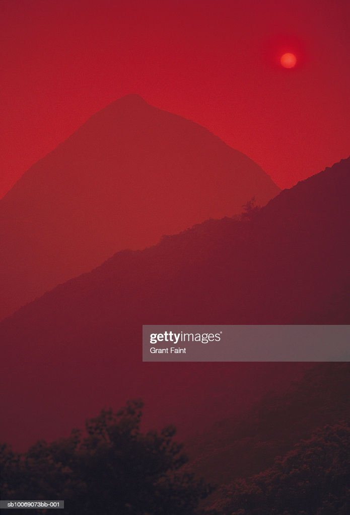 Mountains in red sunset : Stockfoto