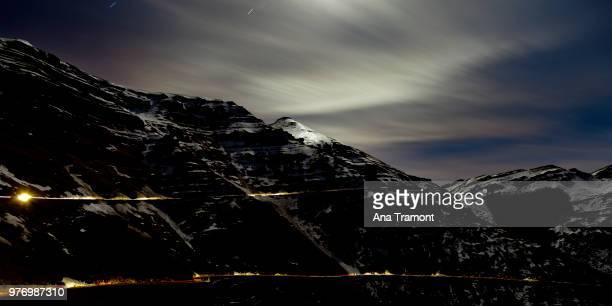Mountains in snow at night, La Lunada, Cantabria, Spain