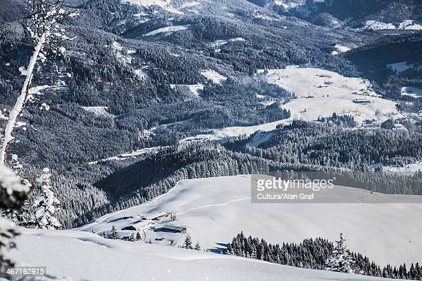 Mountains in snowy landscape