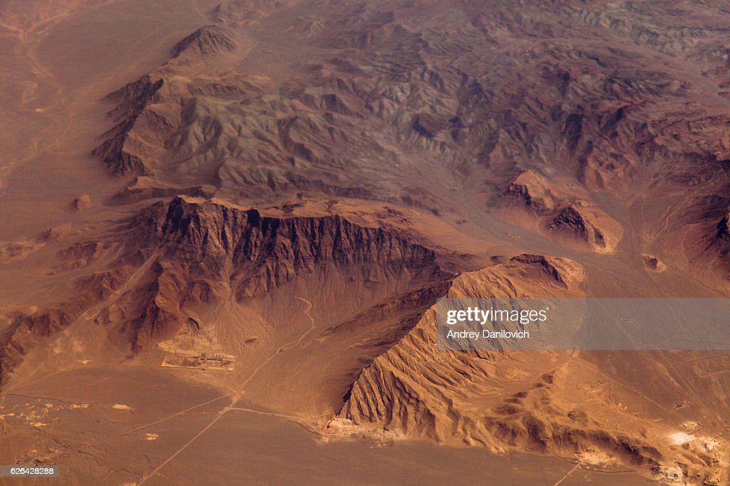 Mountains in the desert, aerial view : Stock Photo