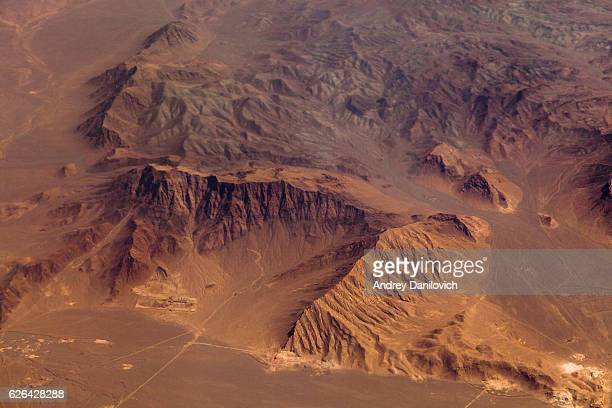 mountains in the desert, aerial view - mars stock pictures, royalty-free photos & images