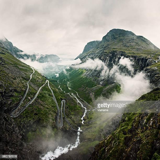 Mountains in winding road, Trollstigen, Norway