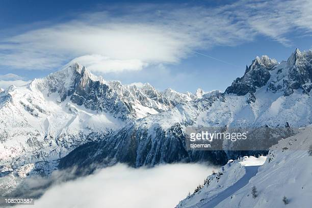 mountains of chamonix - european alps stock photos and pictures