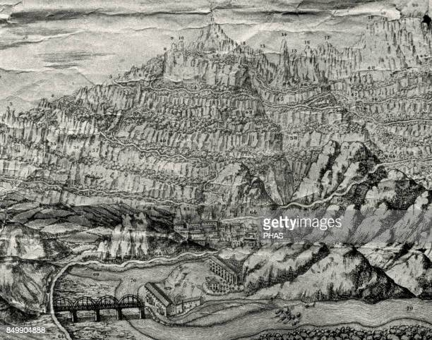 Mountains of Montserrat. Detail of an engraving, 1869. View of La Bauma, an industrial colony created in 1860, the oldest of the village of...