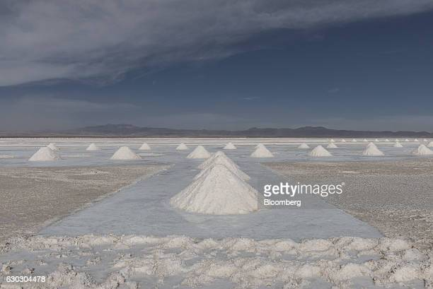 Mountains of salt stand at the Salar de Uyuni in Potosi Bolivia on Friday Dec 9 2016 Bolivia has the largest lithium deposits of any country which...