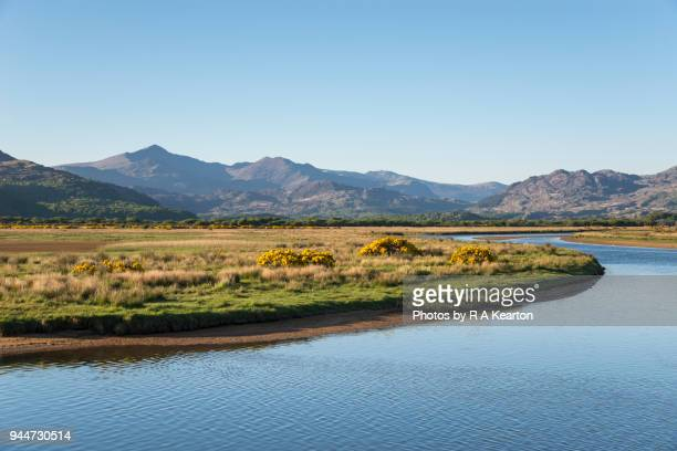 mountains of snowdonia and river glaslyn, north wales, uk - water's edge stock pictures, royalty-free photos & images