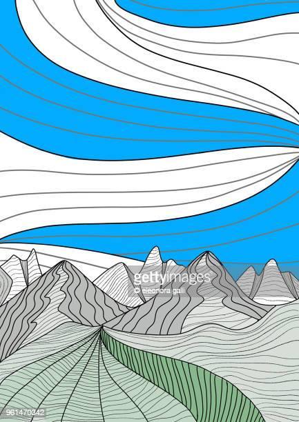 mountains - lineart stock-fotos und bilder