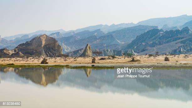 Mountains reflected in a lake in western Qeshm Island, Persian Gulf, Hormozgan Province, Southern Iran