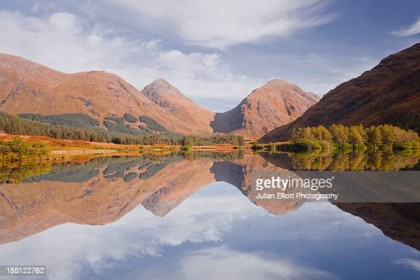 Mountains reflecting into Lochan Urr in Glen Etive