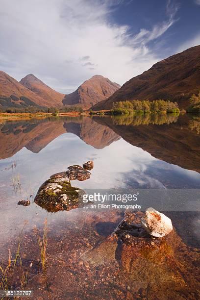 Mountains reflecting into Lochan Urr in Glen Etive