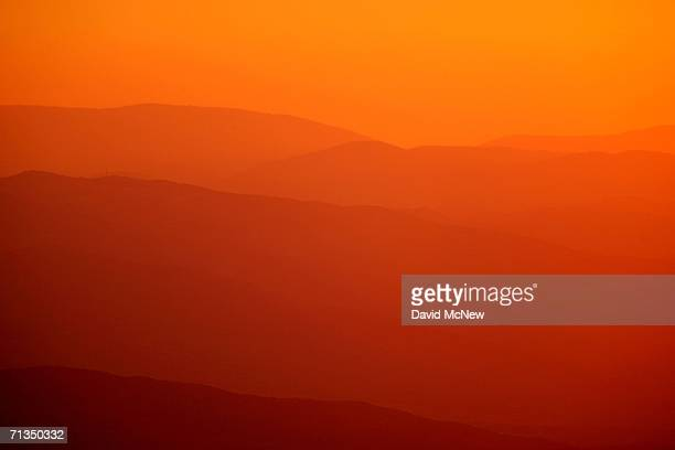 Mountains ridges through which the San Andreas Fault cuts are seen at sunset on June 30 2006 west of Wrightwood California Scientists have warned...