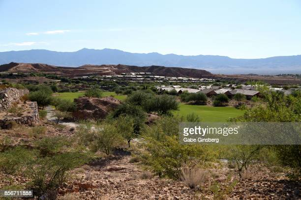 Mountains rise in the distance at the Sun City Mesquite community where suspected Las Vegas gunman Stephen Paddock lived on October 2 2017 in...
