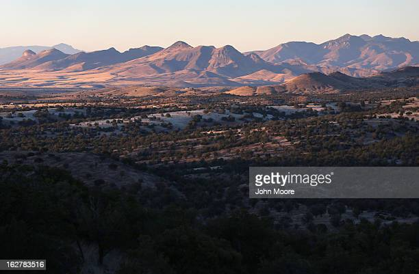 Mountains rise over Arizona border area on February 26 2013 near Sonoita Arizona The Federal government has increased the Border Patrol presence in...