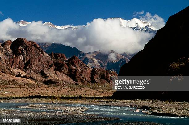 Mountains surrounded by clouds Andean landscape Mendoza province Argentina