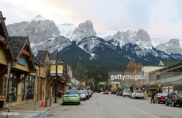 Mountains surrounding Canmore, Alberta, and the town center