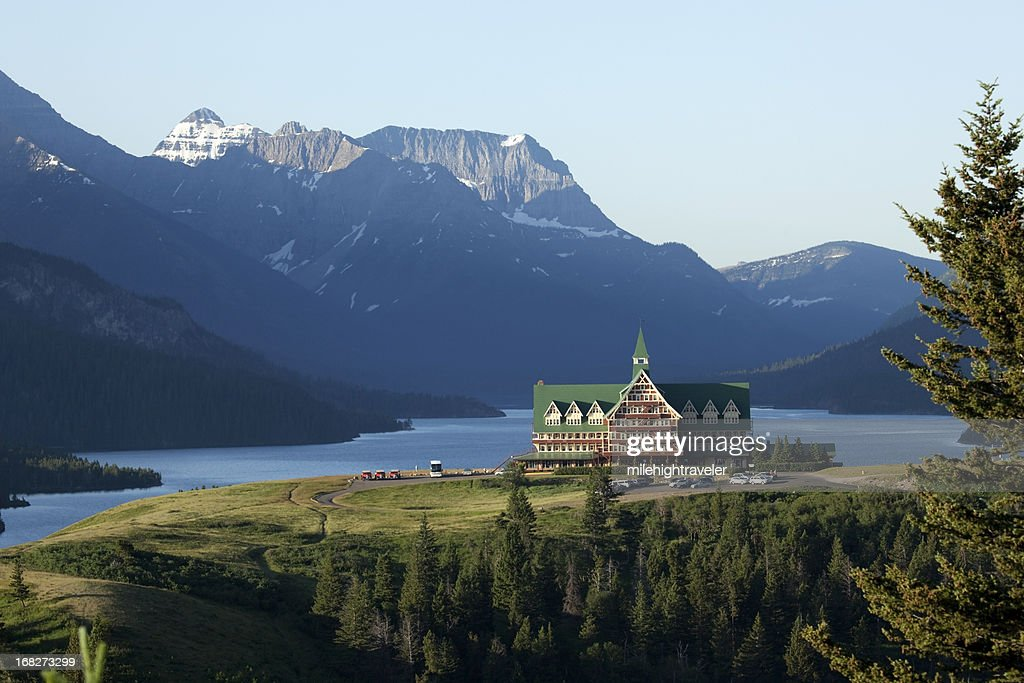 Mountains With Waterton Lakes National Park Prince Of Wales Hotel Stock Photo