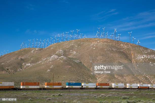A mountaintop wind turbine farm east of Tehachapi is viewed on April 4 near Mojave California California Highway 58 stretches across the central part...