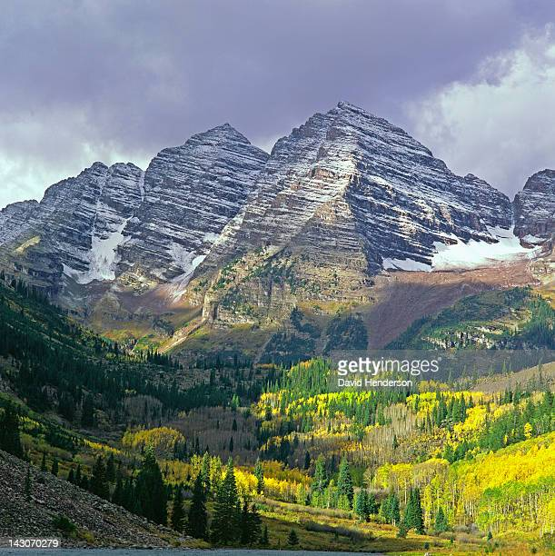 Mountaintops over forested rural valley