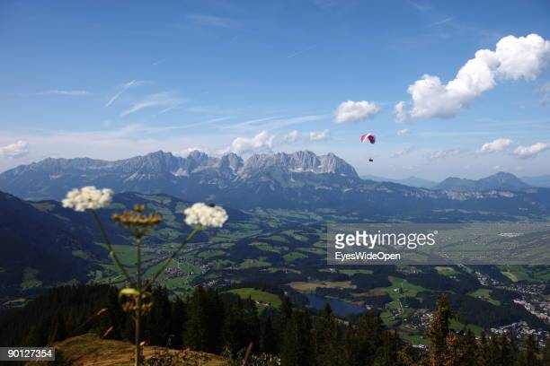 Mountainview on the Kaisergebirge from the Hocheckalm on the Hahnenkamm on August 16 2009 in Kitzbuhel Austria Kitzbuehel is famous for its...