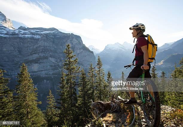 Mountan biker pauses on mountain crest