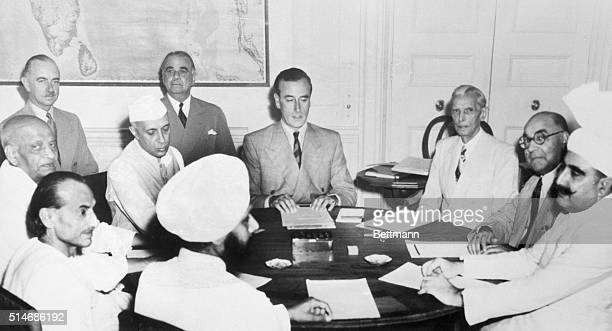 Mountbatten as Viceroy of India meets with various Indian leaders to devise a plan to partition India into two nations