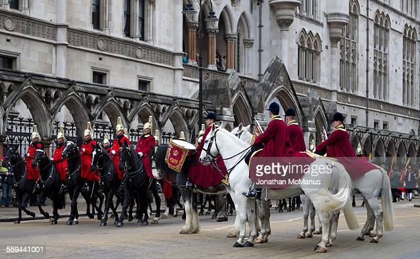 Mounted Band outside the Royal Courts of Justice at the Lord Mayor's Show in London