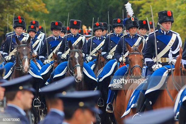 mounted brigade on lange voorhout during prinsjesdag in the hague - prinsjesdag stock photos and pictures