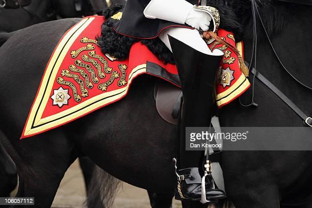 Mounted cavalry arrive to escort Queen Elizabeth II and the Emir of Qatar Sheikh Hamad bin Khalifa al Thani to Windsor Castle on October 26 2010 in...