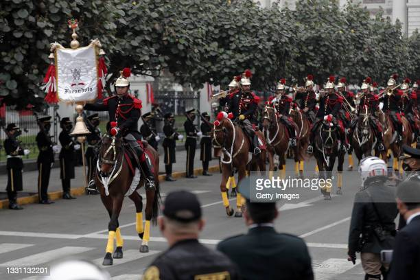 Mounted guard parades during the presidential inauguration on July 28, 2021 in Lima, Peru. Castillo of Peru Libre defeated Keiko Fujimori of Fuerza...