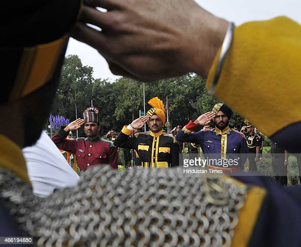 Mounted guards during a ceremony to honor World War-I Indian cavalry martyrs at Teen Murti on March 14, 2015 in New Delhi, India,. Teen Murti is a...