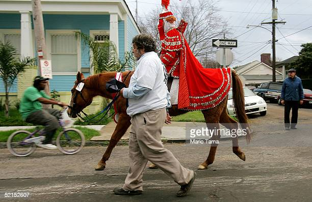 A mounted horseman participates in the historic Proteus parade founded in 1882 during Mardi Gras festivites February 7 2005 in New Orleans Louisiana...