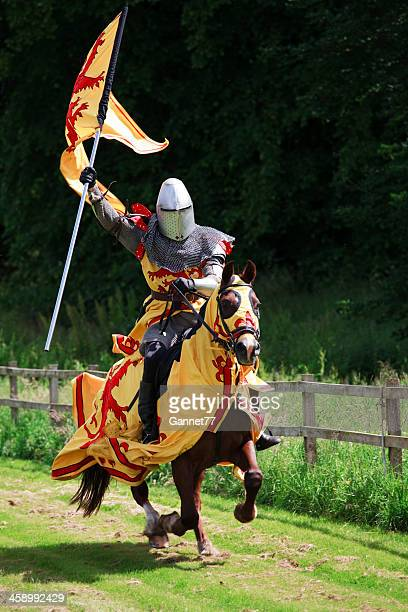 Mounted Knight charging with the Royal Standard of Scotland