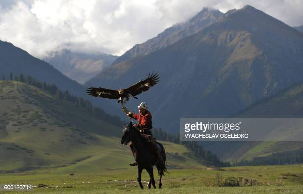 TOPSHOT A mounted Kyrgyz berkutchi holds his bird a golden eagle during the World Nomad Games 2016 in the Kyrchin gorge some 300 km from Bishkek on...